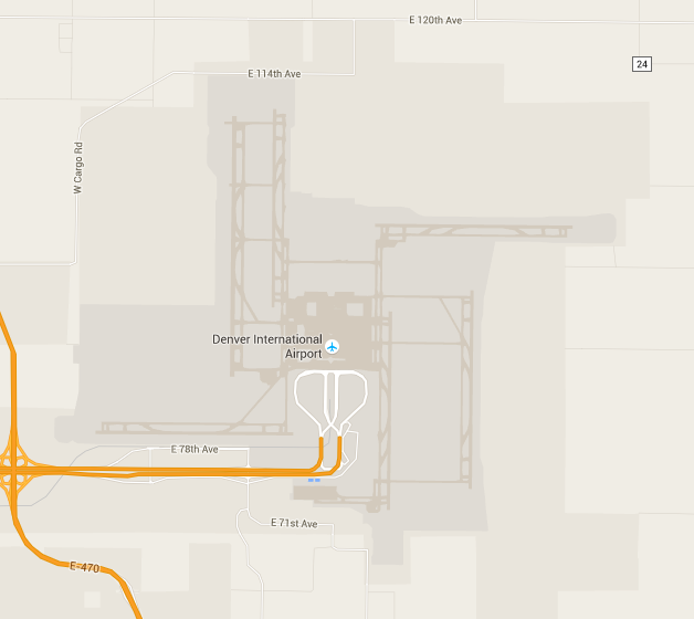 """An aerial view of the runways at Denver International Airport shows that they resemble the shape of a swastika. This is not a typical formation for an airport's runways. However, an airport representative has said that the runways are designed that way so that they can be used simultaneously no matter the weather condition, since none of the runways overlap. She told the U.K.'s The Telegraph, """"We think the shape looks like a pinwheel."""""""